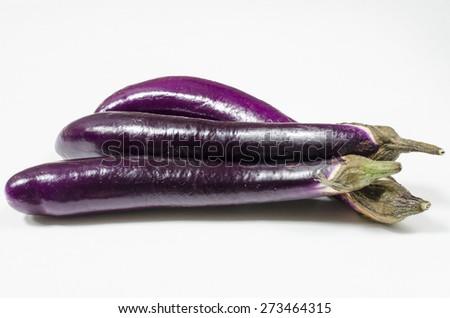 Japanese eggplant on white background - stock photo