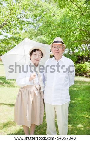 Japanese elderly couple - stock photo