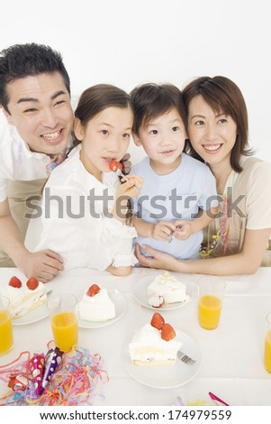 Japanese family having a Party