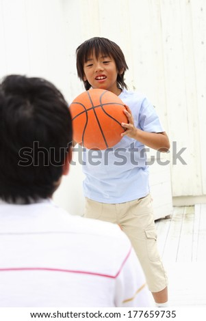 Japanese Father and son who play the basketball