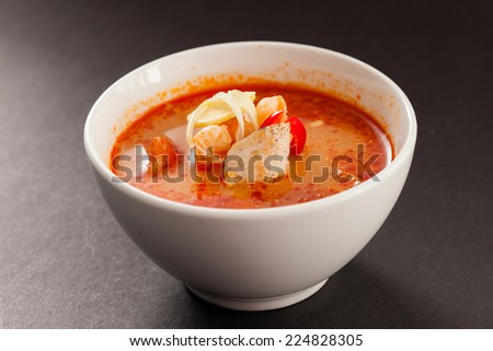 Japanese fish soup - stock photo