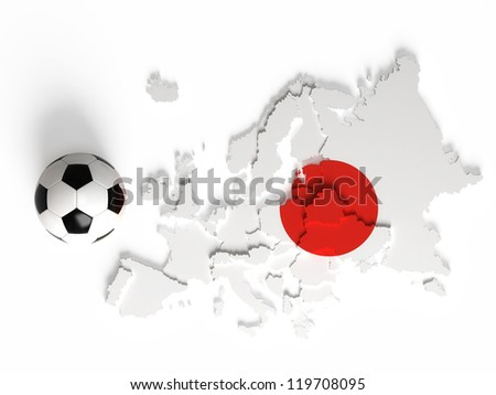 Japanese flag on European map with national borders, isolated on white background
