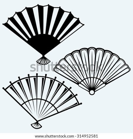 Japanese folding fan. Isolated on blue background. Raster version - stock photo