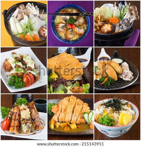 japanese food collage on the background.