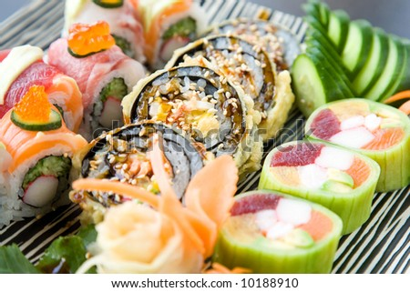 japanese food concept at the restaurant with sushi close up - stock photo