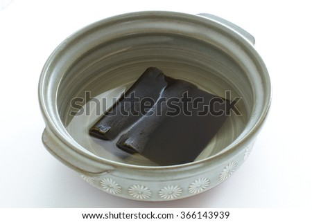 Japanese food image, Dashi Kombu and pot - stock photo