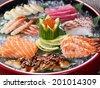 Japanese Food, Menu of 7 Sahimi - stock
