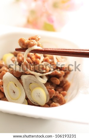 japanese food, Natto fermented soybeans - stock photo