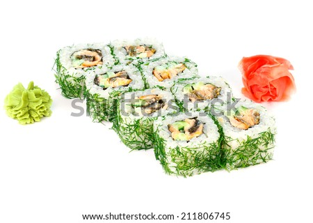 Japanese food on a white background - stock photo