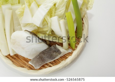 Japanese food, prepared cod fillet and chinese cabbage for hot pot ingredient image