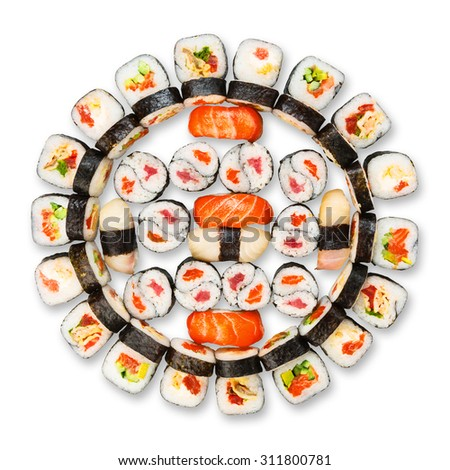 Japanese food restaurant delivery - sushi maki california gunkan roll platter set isolated at white background, above view - stock photo