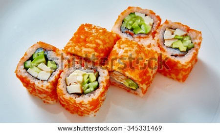 Japanese food restaurant - sushi rolls. Shallow dof - stock photo
