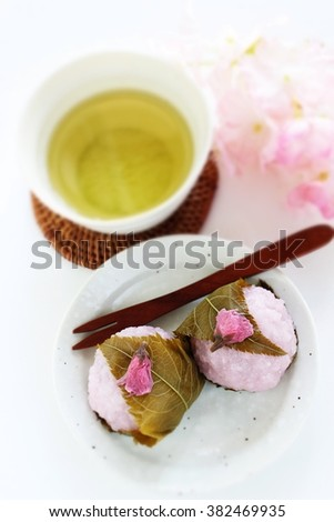 Japanese food, Sakura mochi and green tea for spring food image - stock photo