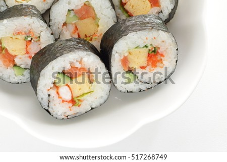 Japanese food, salmon and roe sushi