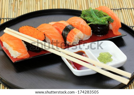 Japanese food/ salmon,shrimp,seaweed sushi in the tray