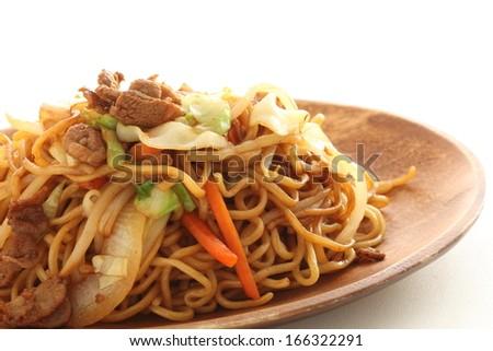 Japanese food, sauce fried noodles Yakisoban - stock photo