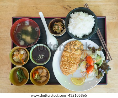 japanese food set, rice fried pork salad and soup - stock photo