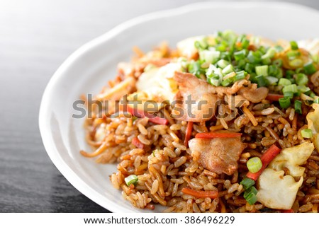 Japanese food ,Sobameshi. Fried Noodles and Rice - stock photo
