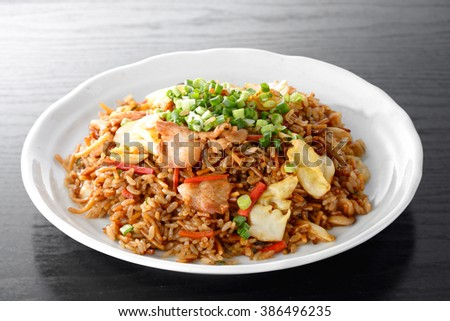 Japanese food ,Sobameshi. Fried Noodles and Rice