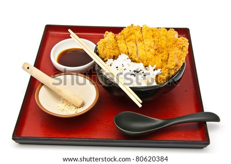 Japanese food style, rice with fried chicken - stock photo