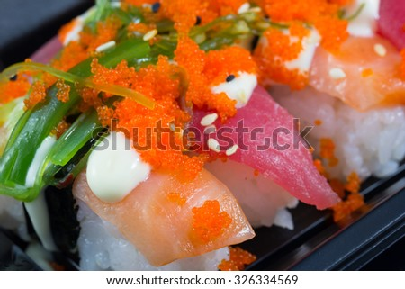 japanese food sushi on the plate - stock photo
