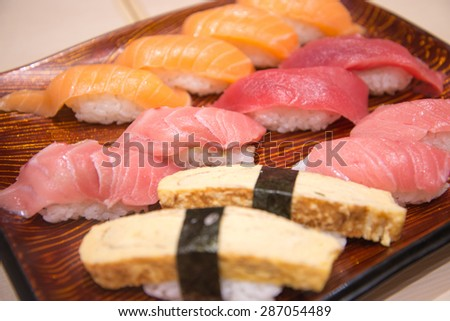 Japanese food,Sushi tasty sushi set - stock photo