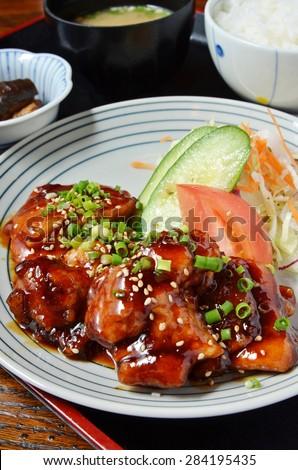 Japanese food, Teriyaki chicken set meal   - stock photo