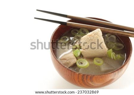 Japanese food, Tuna fish and radish Miso soup - stock photo