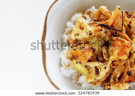 Japanese food, winter vegetable Tempura fried on rice in diorama style