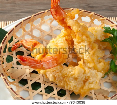 Japanese fried tempura with shrimp  in braided basket - stock photo