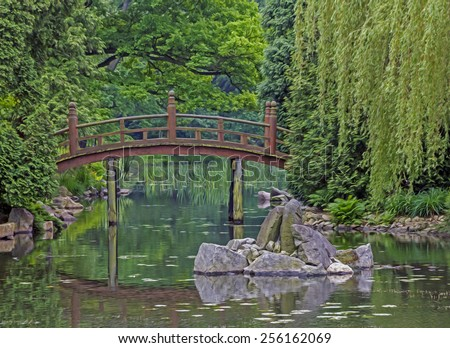 Japanese garden a pond artificial island and red for Artificial pond in garden