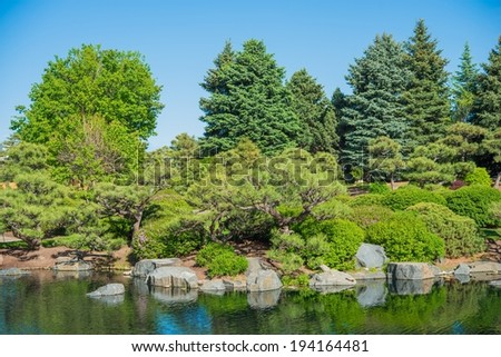 Japanese Garden And Large Garden Pond. Gardening Theme.