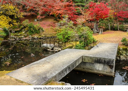 Japanese garden and pond during autumn in Nara, Japan. - stock photo