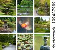 Japanese garden collage with nine photos - stock photo