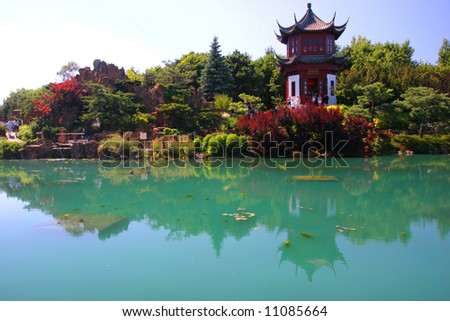 Japanese garden in botanical garden in Montreal - stock photo
