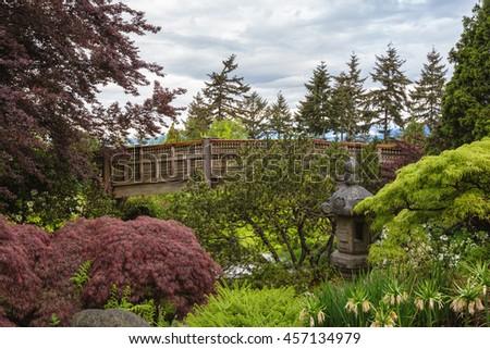 Japanese Garden in Queen Elizabeth Park, Vancouver, BC, Canada. - stock photo