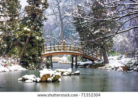 Japanese Garden in Winter - stock photo