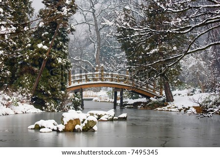 Japanese Garden in winter time, Poland - stock photo