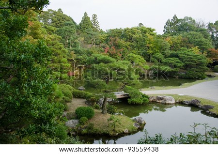 japanese garden inside the Ninna-ji temple in Kyoto, World heritage site - stock photo