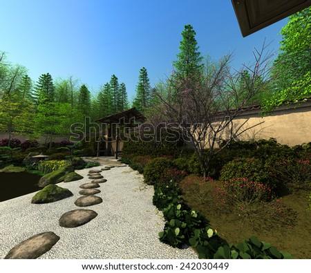Japanese garden, spring time - stock photo