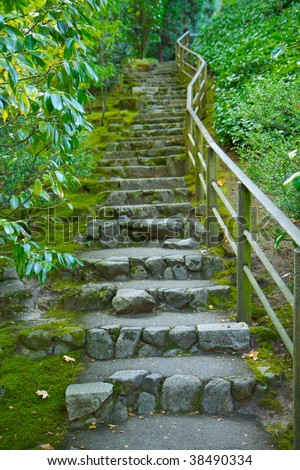 Japanese garden stone staircase covered in moss and surrounded by green foliage - stock photo