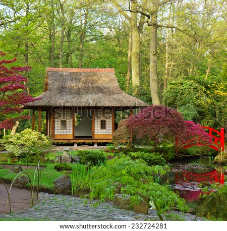 Japanese garden typical view, Den Haag, Holland - stock photo