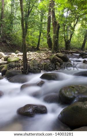 japanese garden waterfall - stock photo