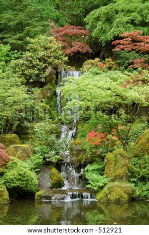 Japanese Garden Waterfall in Portland, Oregon - stock photo