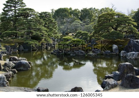 Japanese garden with lake,  islands, water and trees