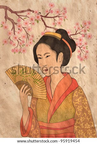 Japanese geisha and oriental cherry - illustration in style of traditional old japanese engraving - stock photo