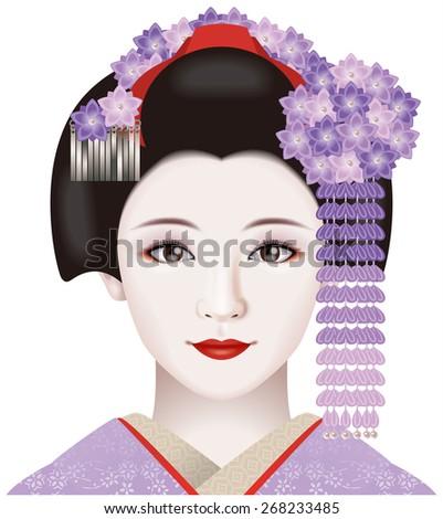 Japanese geisha. Illustration./ Fashion & ornamental hairpin of September.  - stock photo