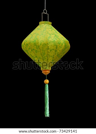 Japanese green paper lampshade shot over black background - stock photo