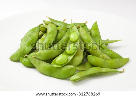Japanese green soybeans on white background - stock photo