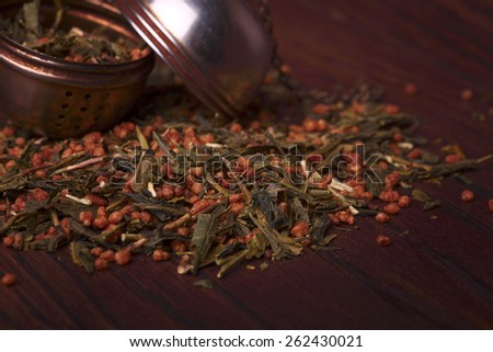Japanese green tea with roasted brown rice known as Genmaicha - stock photo